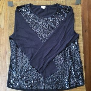 JCrew Sequins Front Black 3/4 Sleeve NWOT